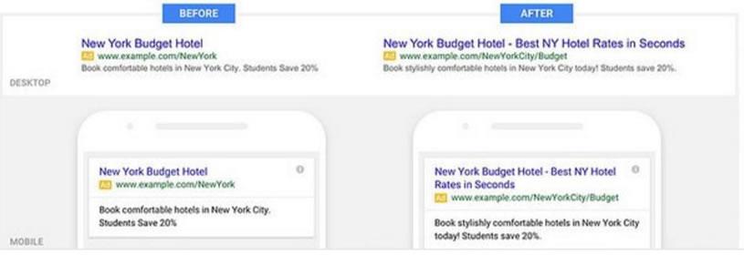 Google Texto Expandido Desktop x Mobile