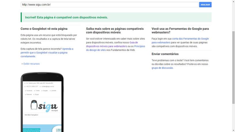 Mobilegeddon Exemplo de Resultado da Pesquisa